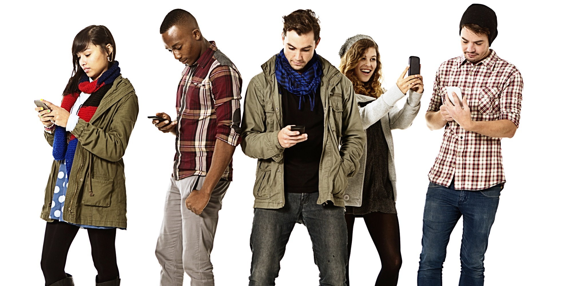 Five young people keep in touch by ignoring each other!